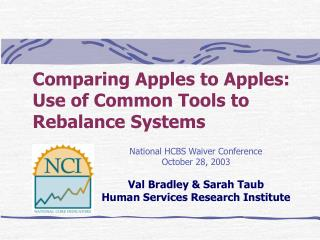 Comparing Apples to Apples: Use of Common Tools to Rebalance Systems