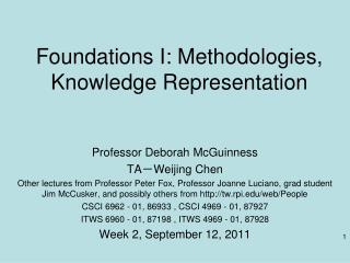 Foundations I: Methodologies, Knowledge Representation