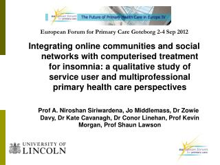 European Forum for Primary Care Goteborg 2-4 Sep 2012