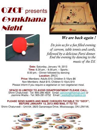 OZCF presents Gymkhana Night