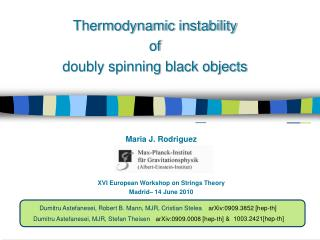 XVI European Workshop on Strings Theory Madrid– 14 June 2010