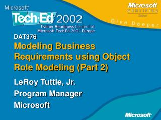 DAT376 Modeling Business Requirements using Object Role Modeling (Part 2)