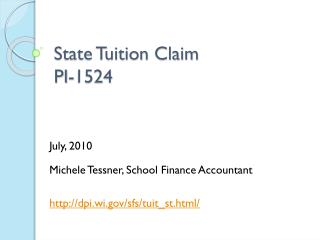 State Tuition Claim PI-1524