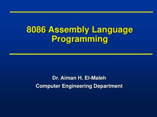 8086 Assembly Language Programming