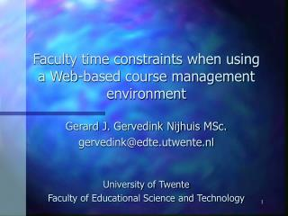 Faculty time constraints when using a Web-based course management environment