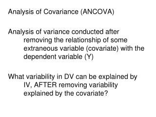 Analysis of Covariance (ANCOVA)