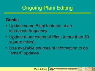 Ongoing Plani Editing