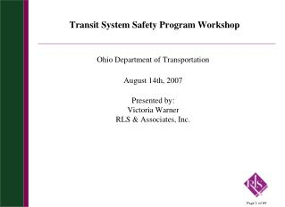 Transit System Safety Program Workshop