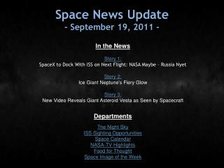 Space News Update - September 19, 2011 -