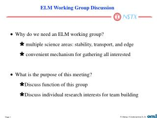 ELM Working Group Discussion