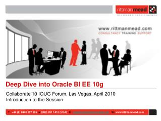 Collaborate'10 IOUG Forum, Las Vegas, April 2010 Introduction to the Session