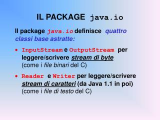 IL PACKAGE   java.io