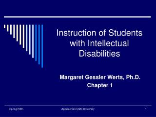 Instruction of Students with Intellectual Disabilities