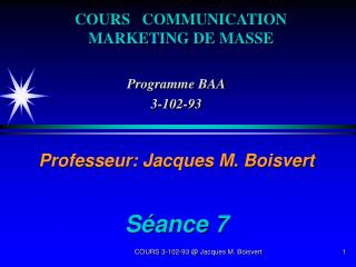 COURS COMMUNICATION MARKETING DE MASSE