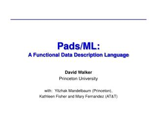 Pads/ML: A Functional Data Description Language