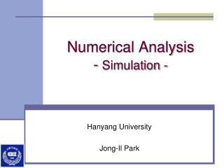 Numerical Analysis -  Simulation -