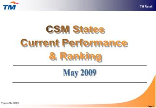 CSM States Current Performance  & Ranking