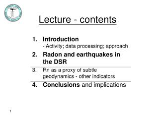 Lecture - contents