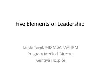 Five Elements of Leadership
