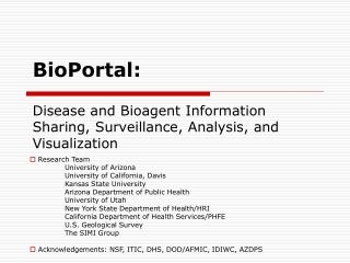 BioPortal: Disease and Bioagent Information Sharing, Surveillance, Analysis, and Visualization