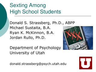 Sexting Among  High School Students