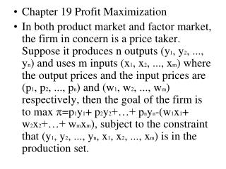 Chapter 19 Profit Maximization