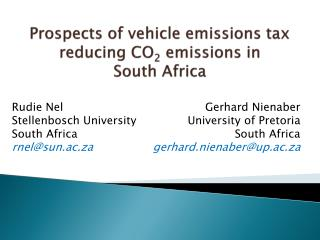 Prospects of vehicle emissions tax reducing CO 2  emissions in  South Africa