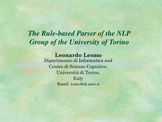 The Rule-based Parser of the NLP Group of the University of Torino