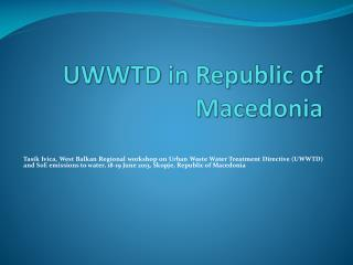 UWWTD in Republic of Macedonia
