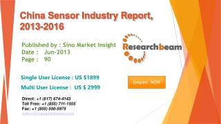 China Sensor Market Size, Share, Industry, Study 2013-2016