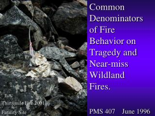 Common Denominators of Fire Behavior on Tragedy and Near-miss Wildland Fires.