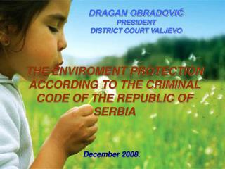THE ENVIROMENT PROTECTION ACCORDING TO THE CRIMINAL CODE OF THE REPUBLIC OF SERBIA