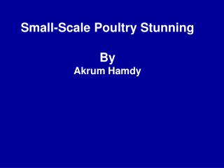 Small-Scale Poultry Stunning By Akrum Hamdy