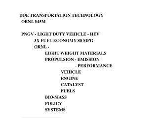 DOE TRANSPORTATION TECHNOLOGY ORNL $45M PNGV - LIGHT DUTY VEHICLE - HEV 	3X FUEL ECONOMY 80 MPG