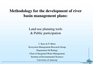 Methodology for the development of river basin management plans: