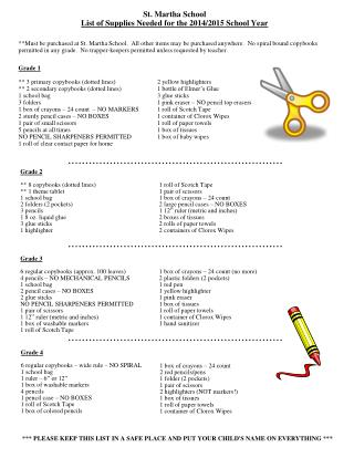 St. Martha School List of Supplies Needed for the 2014/2015 School Year