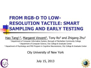 FROM RGB-D TO LOW-RESOLUTION TACTILE: SMART SAMPLING AND EARLY TESTING