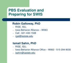 PBS Evaluation and  Preparing for SWIS