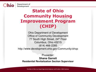 State of Ohio Community Housing  Improvement Program (CHIP)