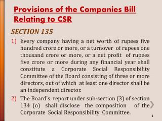 Provisions of the Companies Bill Relating to CSR