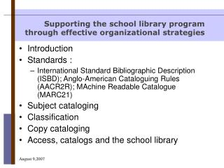 Supporting the school library program through effective organizational strategies