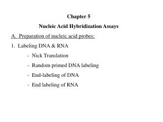 Chapter 5 Nucleic Acid Hybridization Assays A.  Preparation of nucleic acid probes: