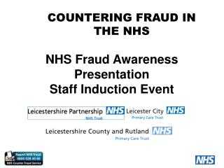 NHS Fraud Awareness Presentation Staff Induction Event