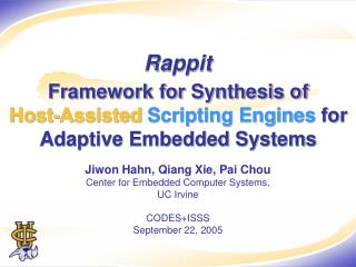 Framework for Synthesis of  Host-Assisted Scripting Engines  for Adaptive Embedded Systems
