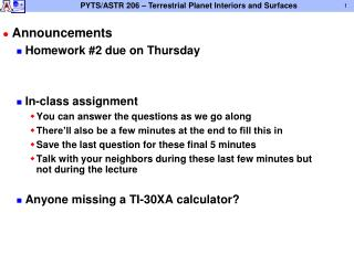 Announcements Homework #2 due on Thursday In-class assignment