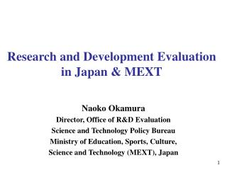 Research and Development Evaluation in Japan & MEXT