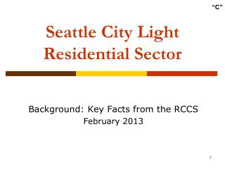 Seattle City Light Residential Sector