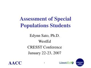 Assessment of Special Populations Students