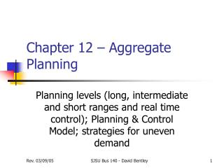 Chapter 12 – Aggregate Planning