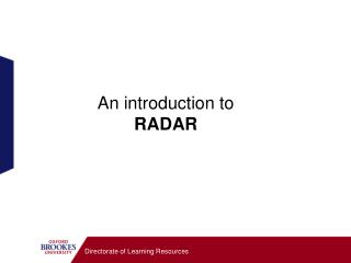 An introduction to   RADAR